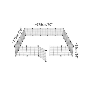 Dimensions of a 5x5 outdoor modular playpen with small hole safe C&C grids for guinea pigs or Rabbits by brand kavee