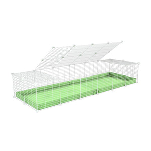 A 2x6 C and C cage for guinea pigs with green pastel pistachio coroplast a lid and small hole white grids from brand kavee