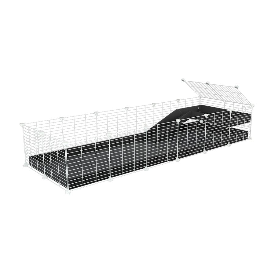 a 6x2 C&C guinea pig cage with a loft and a ramp black coroplast sheet and baby bars by kavee