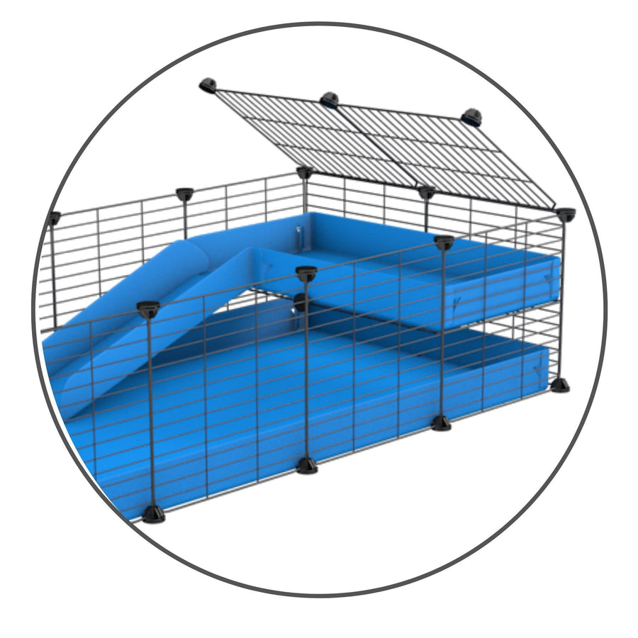 A kit containing a blue coroplast ramp and 2x1 loft and small size safe C&C grids by kavee uk