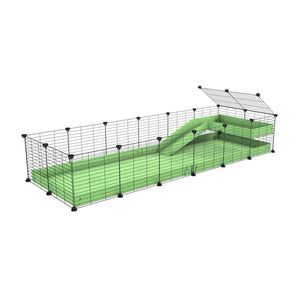 a 6x2 C&C guinea pig cage with a loft and a ramp green pastel pistachio coroplast sheet and baby bars by kavee