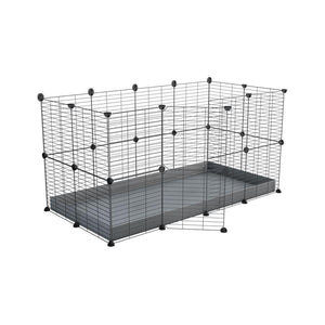 A 4x2 C&C rabbit cage with safe small meshing baby bars grids and grey coroplast by kavee UK