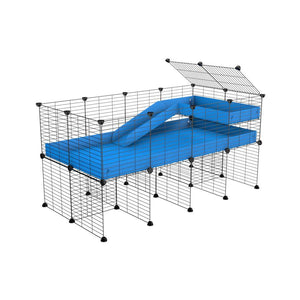 a 4x2 CC guinea pig cage with stand loft ramp small mesh grids blue corroplast by brand kavee