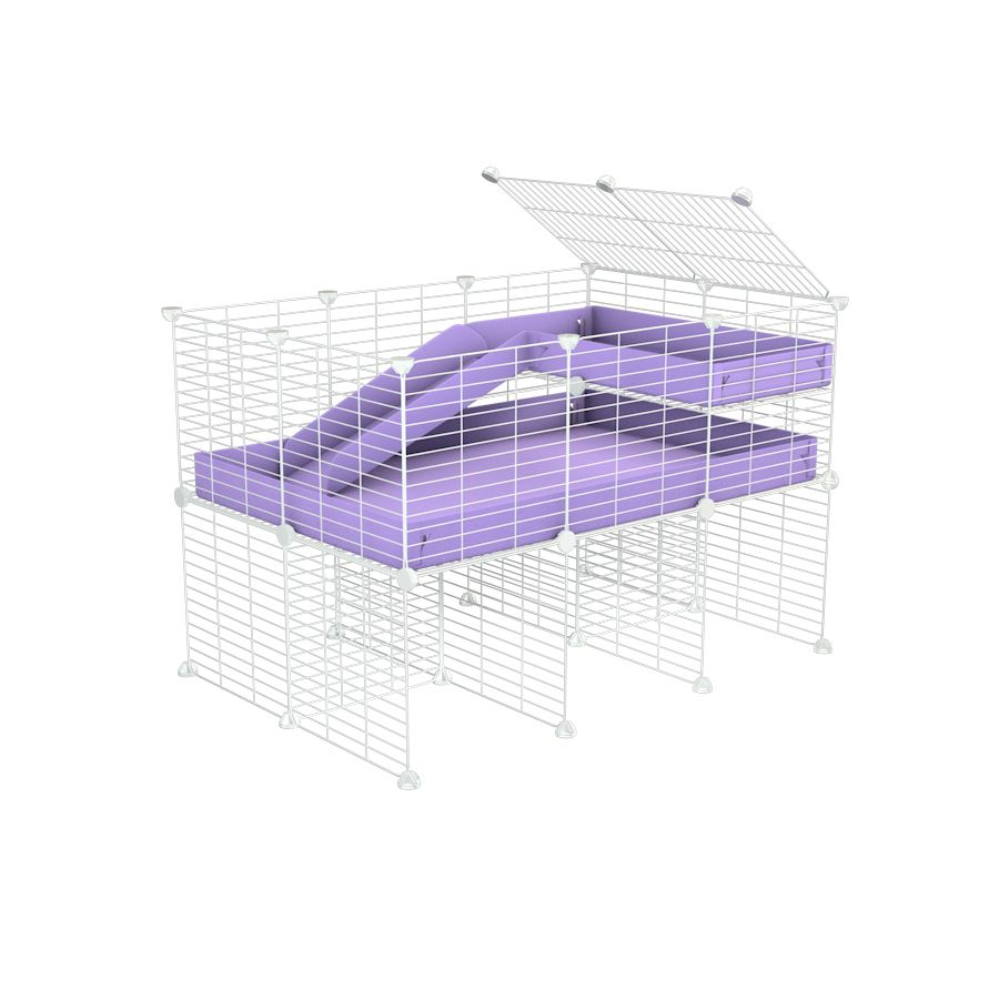 a 3x2 CC guinea pig cage with stand loft ramp small mesh white grids purple lilac pastel corroplast by brand kavee