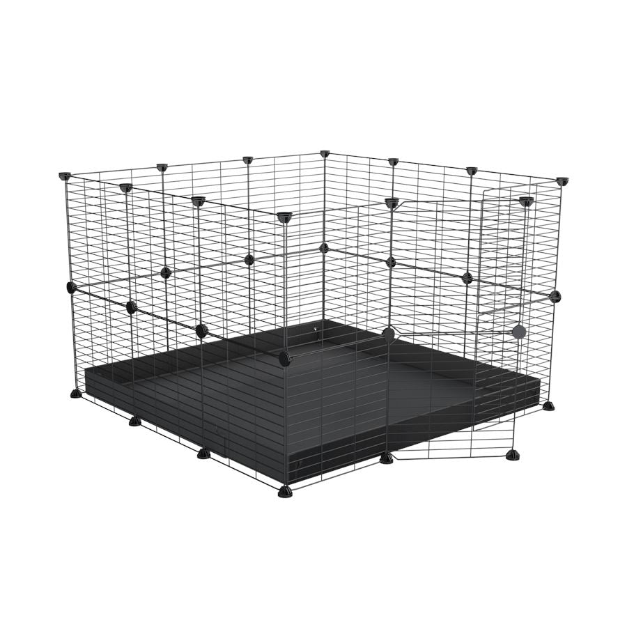 A 3x3 C and C rabbit cage with lid and safe small meshing grids black coroplast by kavee UK
