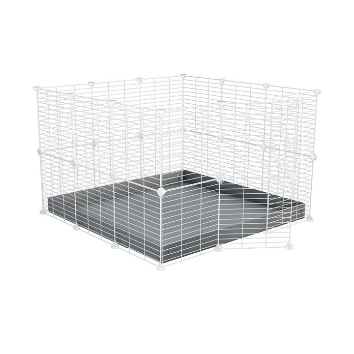 A 3x3 C and C rabbit cage with safe baby proof white grids grey coroplast by kavee UK
