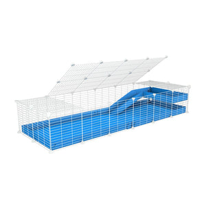 a 2x6 C and C guinea pig cage with loft ramp lid small hole size white CC grids blue coroplast kavee