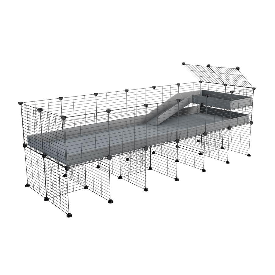 a 6x2 CC guinea pig cage with stand loft ramp small mesh grids grey corroplast by brand kavee