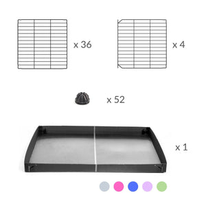 Material for a 4x2 C&C cage for guinea pigs with a stand and a top purple lilac pastel plastic safe grids by kavee