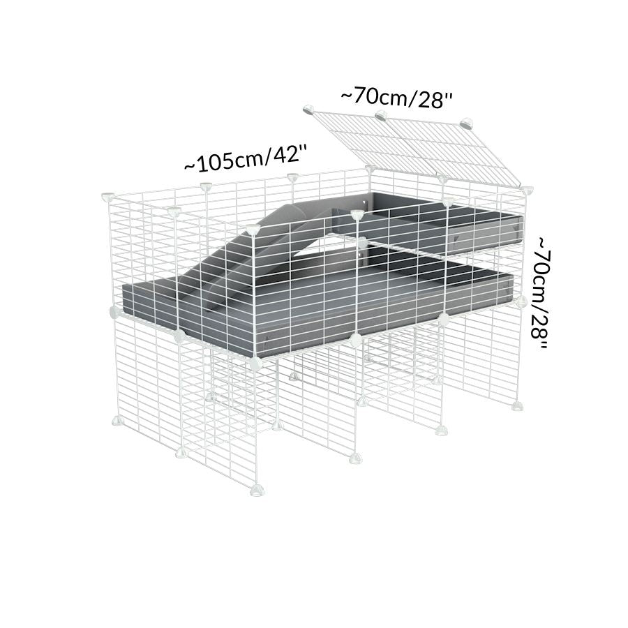 Dimensions of A 2x3 C and C guinea pig cage with stand loft ramp lid small size meshing safe white C and C grids grey correx sold in UK