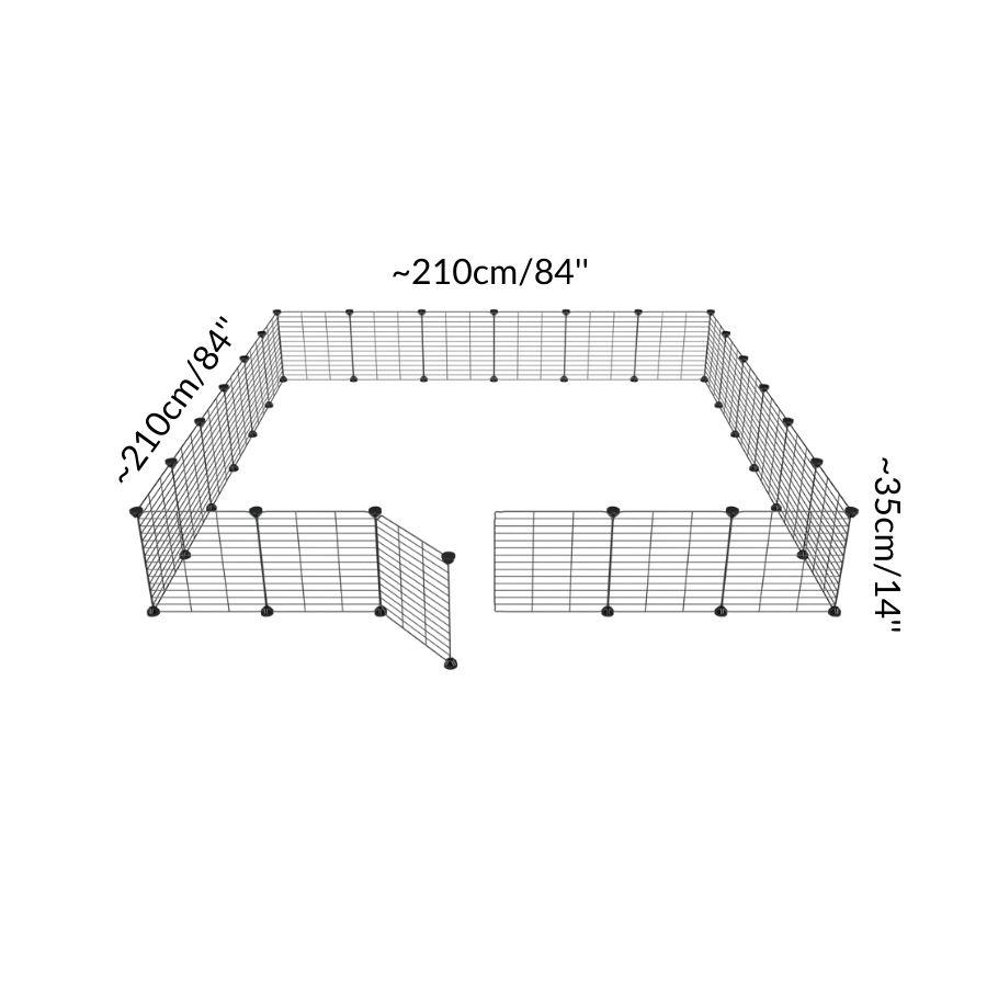 Dimensions of a 6x6 outdoor modular playpen with small hole safe C&C grids for guinea pigs or Rabbits by brand kavee