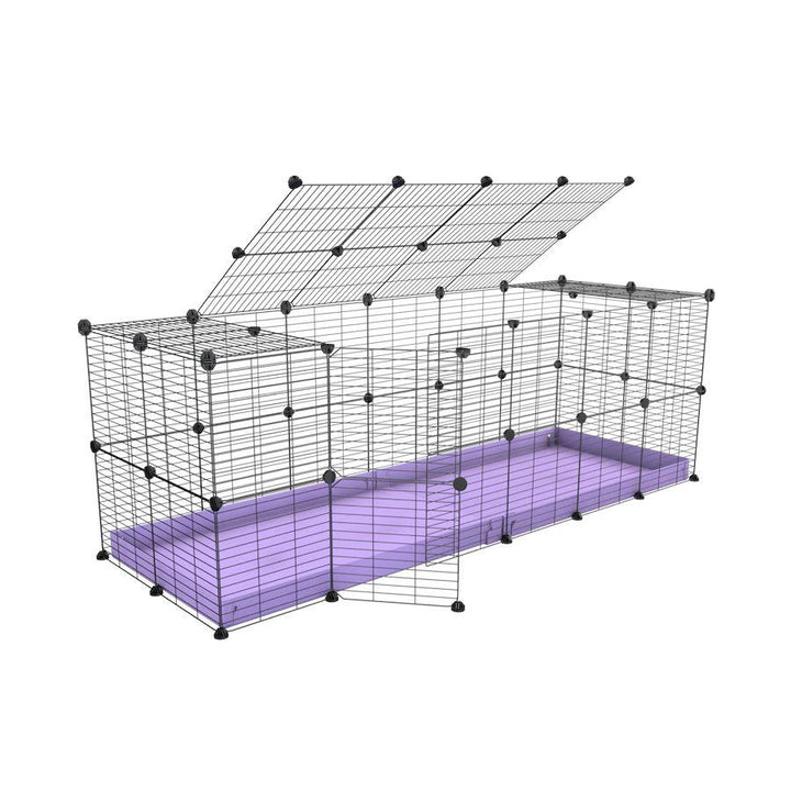 A 6x2 C and C rabbit cage with lid and safe baby proof grids Purple coroplast by kavee UK