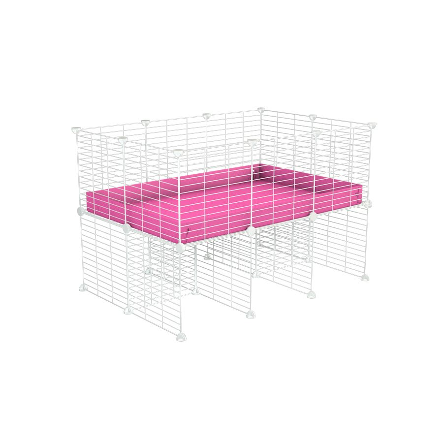a 3x2 CC cage for guinea pigs with a stand pink correx and 9x9 white C&C grids sold in Uk by kavee