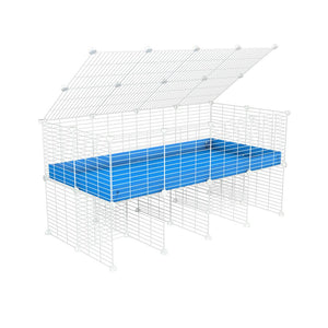 a 4x2 C&C cage for guinea pigs with a stand and a top blue plastic safe white c and c grids by kavee