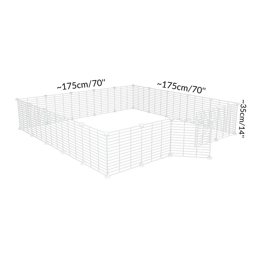 Size of a 5x5 outdoor modular playpen with small hole safe C&C white grids for guinea pigs or Rabbits by brand kavee