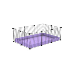A cheap 3x2 C&C cage for guinea pig with purple lilac pastel coroplast and baby proof grids from brand kavee