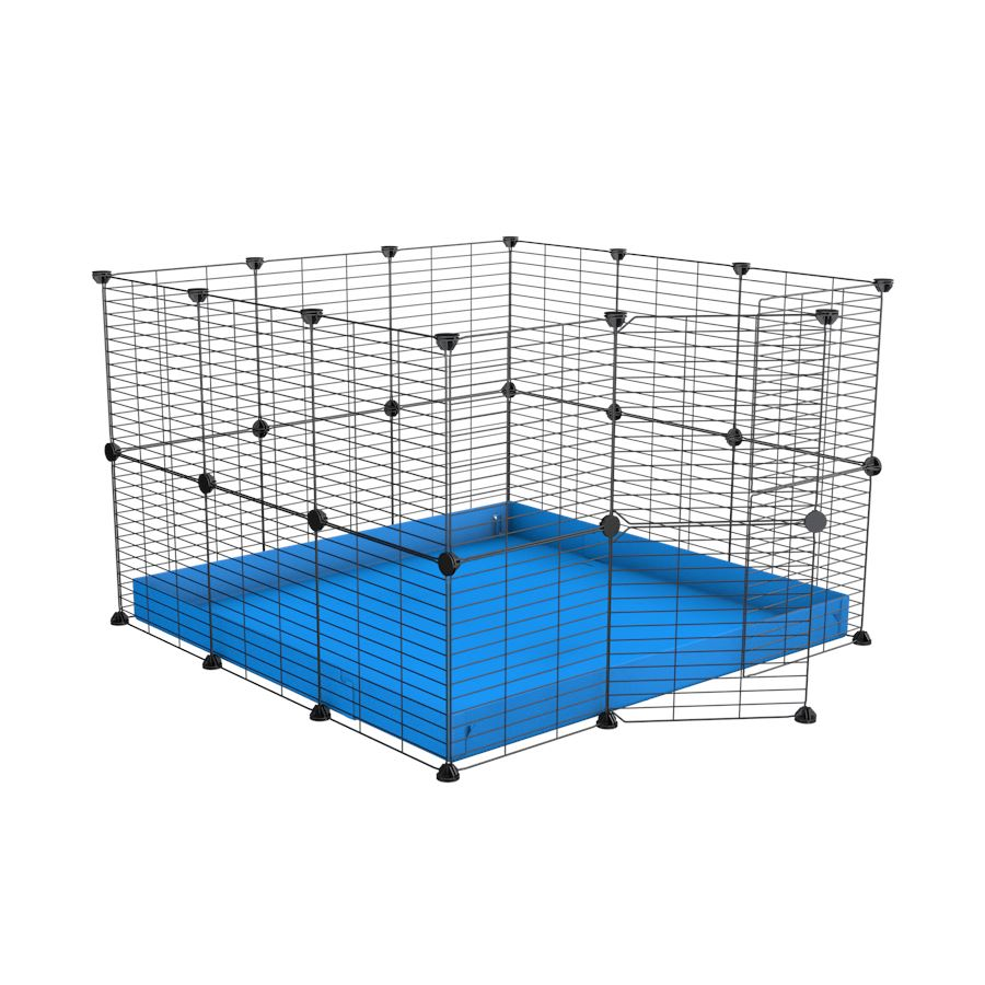 A 3x3 C and C rabbit cage with safe small meshing baby bars grids and blue coroplast by kavee UK