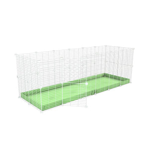 A 6x2 C and C rabbit cage with safe baby proof white CC grids green pastel coroplast by kavee UK