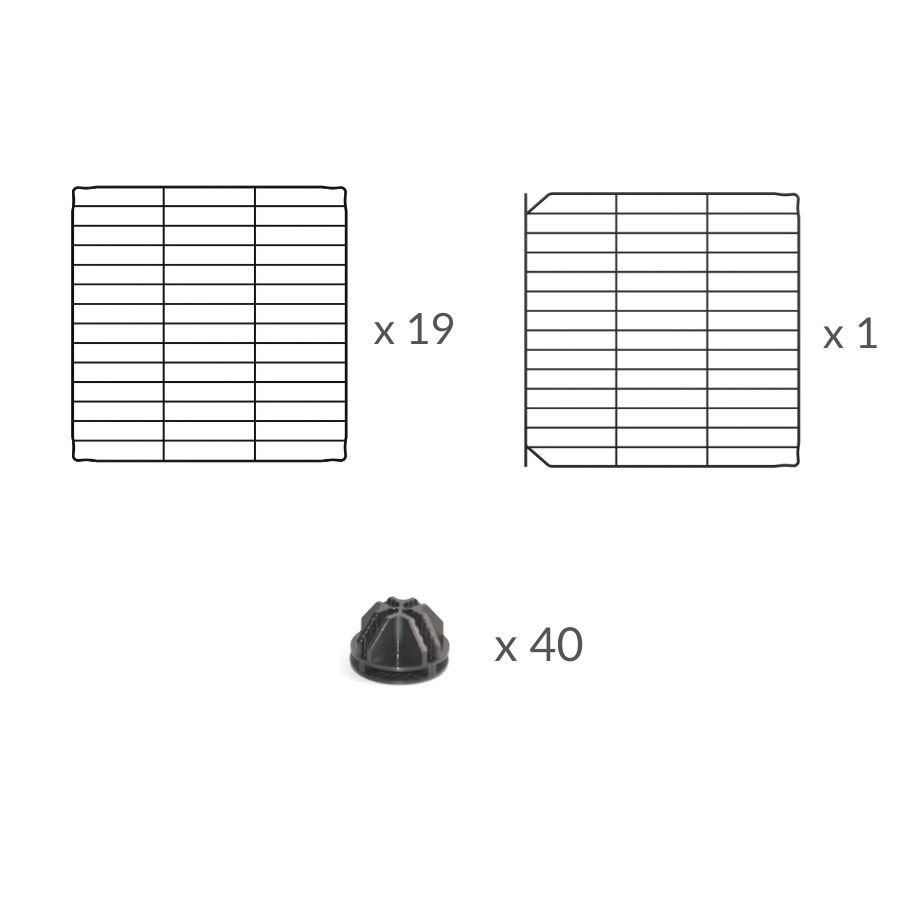 Composition of a 5x5 outdoor modular playpen with small hole safe C&C grids for guinea pigs or Rabbits by brand kavee