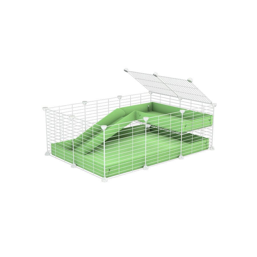 a 3x2 C&C guinea pig cage with a loft and a ramp green pastel pistacchio coroplast sheet and baby bars by kavee