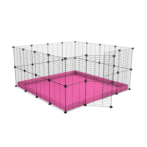 A 4x4 C&C rabbit cage with safe small hole grids and pink coroplast by kavee UK