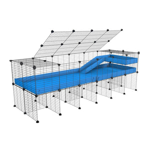 A 2x6 C and C guinea pig cage with stand loft ramp lid small size meshing safe grids blue correx sold in UK
