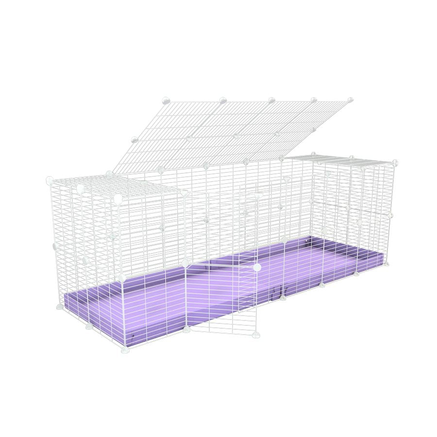 A 6x2 C and C rabbit cage with a lid and safe small size hole baby proof white C and C grids and purple coroplast by kavee UK