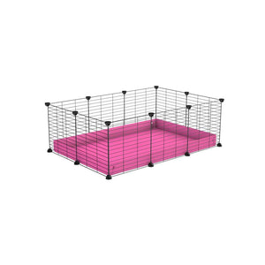 A cheap 3x2 C&C cage for guinea pig with pink coroplast and baby proof grids from brand kavee