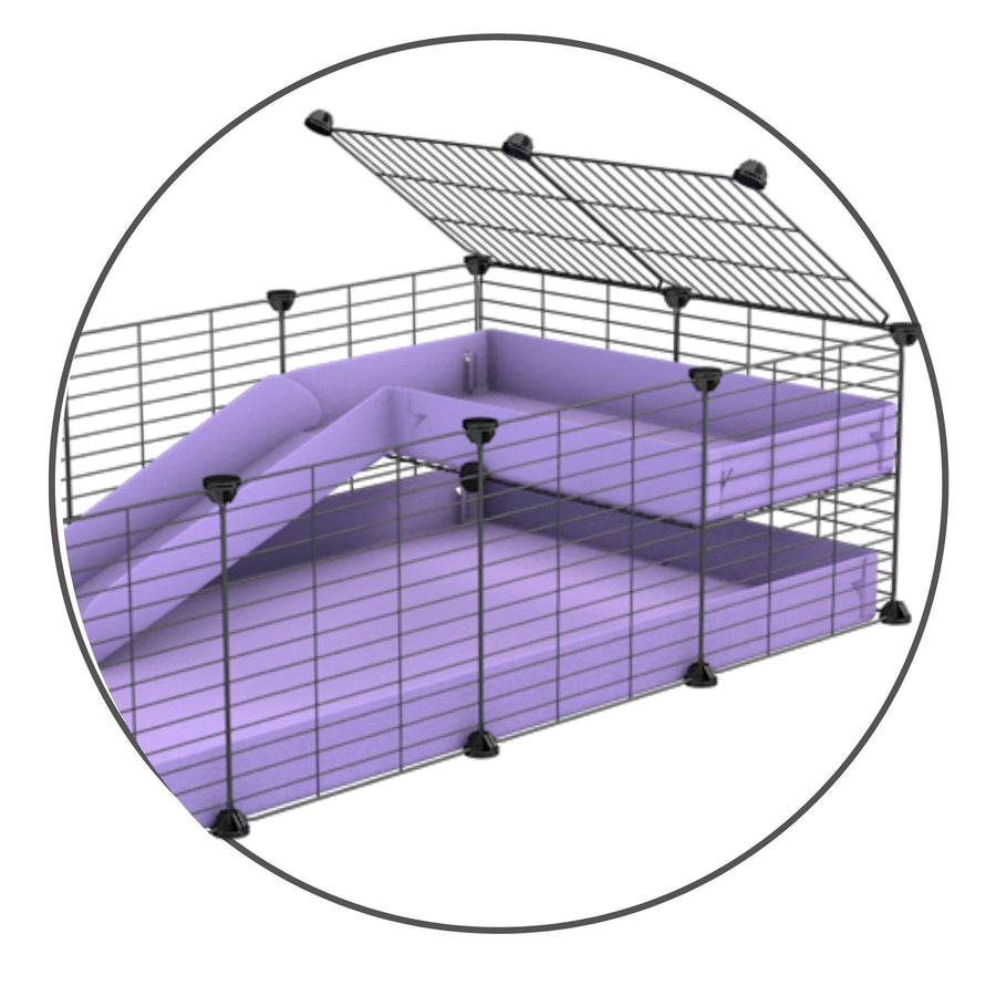 A kit to add a ramp to a C and C cage with a purple coroplast ramp and 1x2 loft and small mesh size safe CC grids