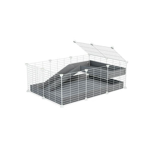 a 3x2 C&C guinea pig cage with a loft and a ramp grey coroplast sheet and baby bars white CC grids by kavee
