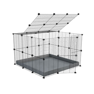 A 3x3 C and C rabbit cage with lid and safe baby bars grids grey coroplast by kavee UK