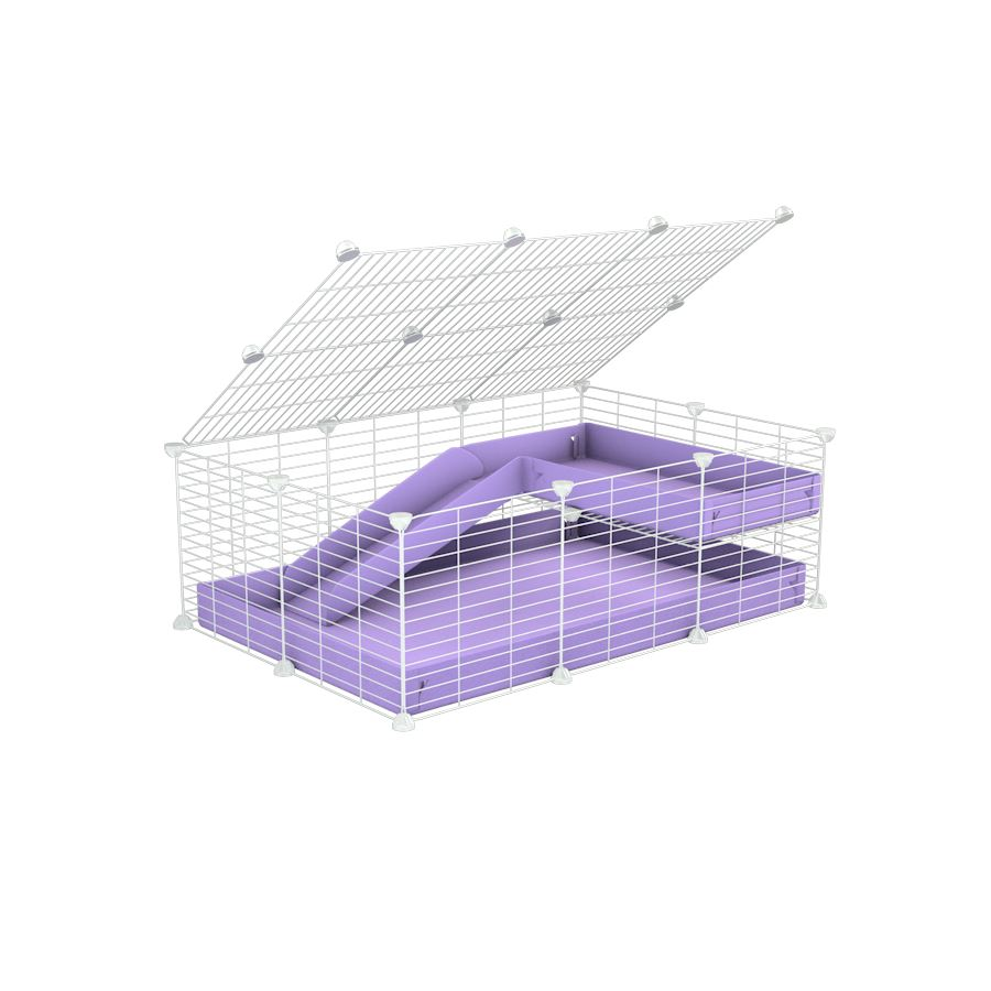a 2x3 C and C guinea pig cage with loft ramp lid small hole size white CC grids purple lilac pastel coroplast kavee