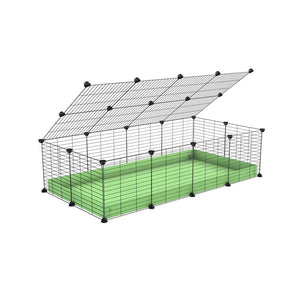 A 2x4 C and C cage for guinea pigs with green pastel pistachio coroplast a lid and small hole grids from brand kavee