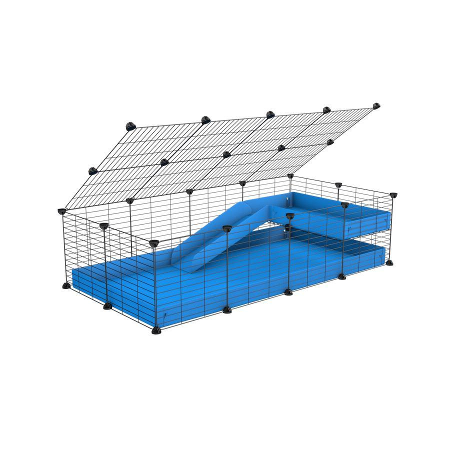 a 2x4 C and C guinea pig cage with loft ramp lid small hole size grids blue coroplast kavee