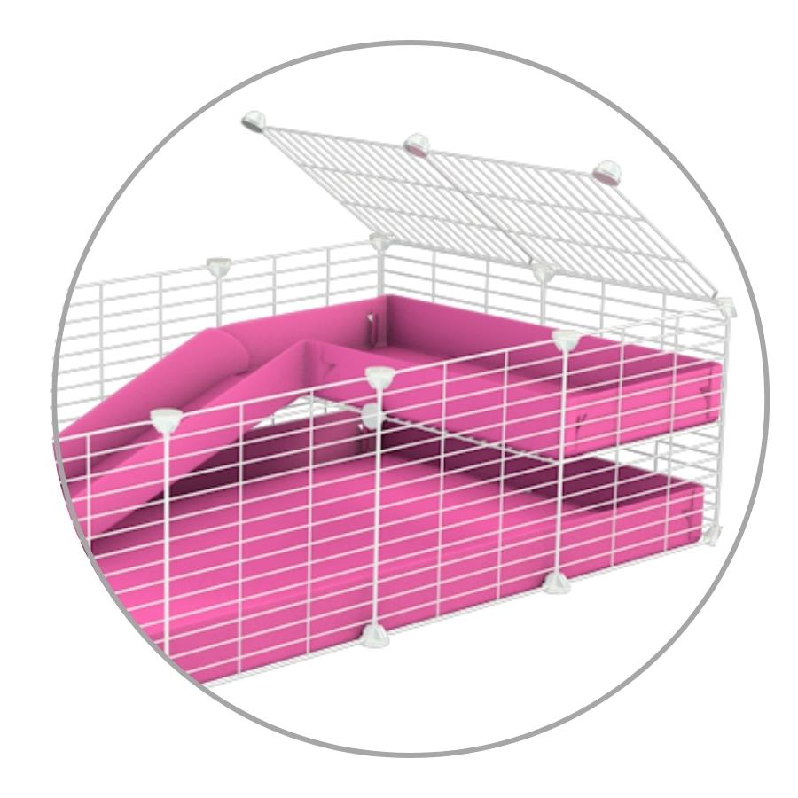 A kit to add a ramp to a C&C cage with a pink coroplast ramp and 2x1 loft and small hole size safe CC white grids