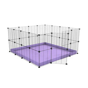 A 4x4 C&C rabbit cage with safe small meshing baby bars grids and purple coroplast by kavee UK