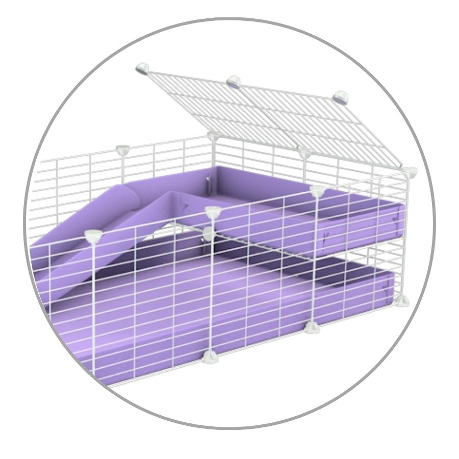 A kit to add a ramp to a C and C cage with a purple coroplast ramp and 1x2 loft and small mesh size safe CC white CC grids