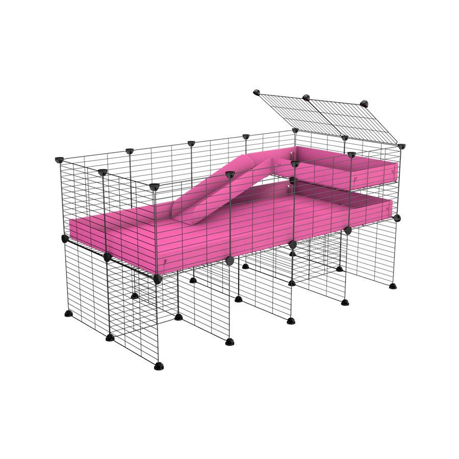 a 4x2 CC guinea pig cage with stand loft ramp small mesh grids pink corroplast by brand kavee