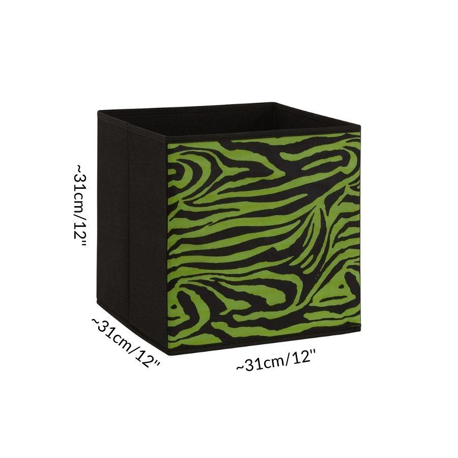 Dimensions of one storage box cube for guinea pig C&C cage green black zebra Kavee