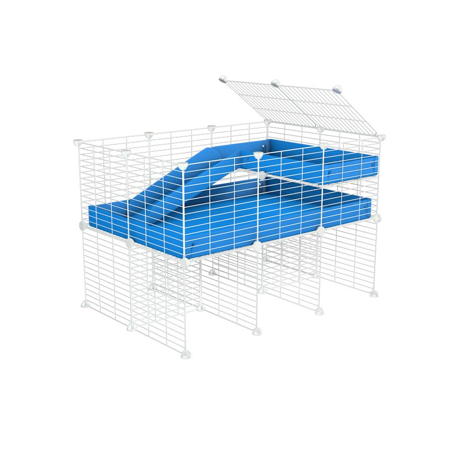 a 3x2 CC guinea pig cage with stand loft ramp small mesh white c and c grids blue corroplast by brand kavee