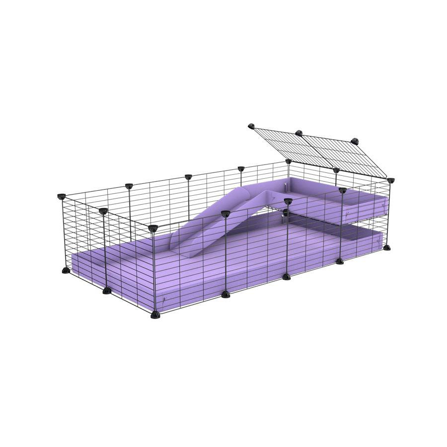 a 4x2 C&C guinea pig cage with a loft and a ramp purple lilac pastel coroplast sheet and baby bars by kavee