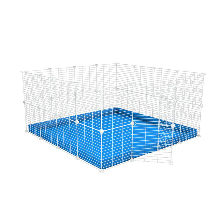 A 4x4 C&C rabbit cage with safe baby bars white C and C grids blue coroplast by kavee UK
