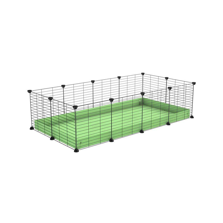 A cheap 4x2 C&C cage for guinea pig with green pastel pistachio coroplast and baby grids from brand kavee