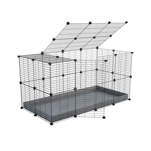 A 4x2 C&C rabbit cage with top and safe baby bars grids grey coroplast by kavee UK