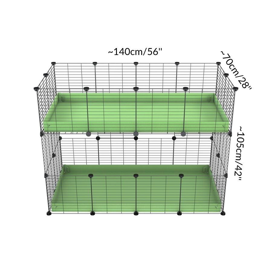 Size of A 4x2 double stacked c and c guinea pig cage with two stories pistachio green coroplast safe size grids by brand kavee