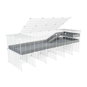 A 2x6 C and C guinea pig cage with stand loft ramp lid small size meshing safe white grids grey correx sold in UK
