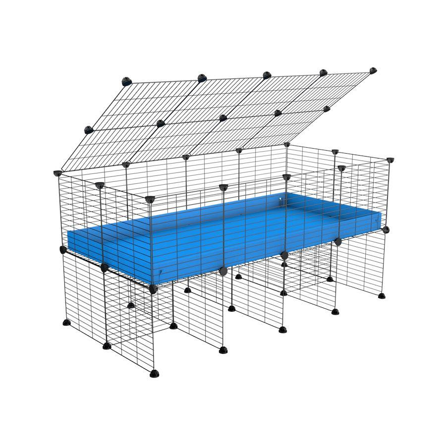 a 4x2 C&C cage for guinea pigs with a stand and a top blue plastic safe grids by kavee