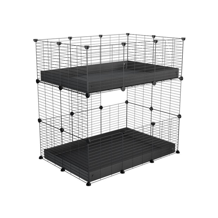 A two tier 3x2 c&c cage for guinea pigs with two levels black correx baby safe grids by brand kavee in the uk