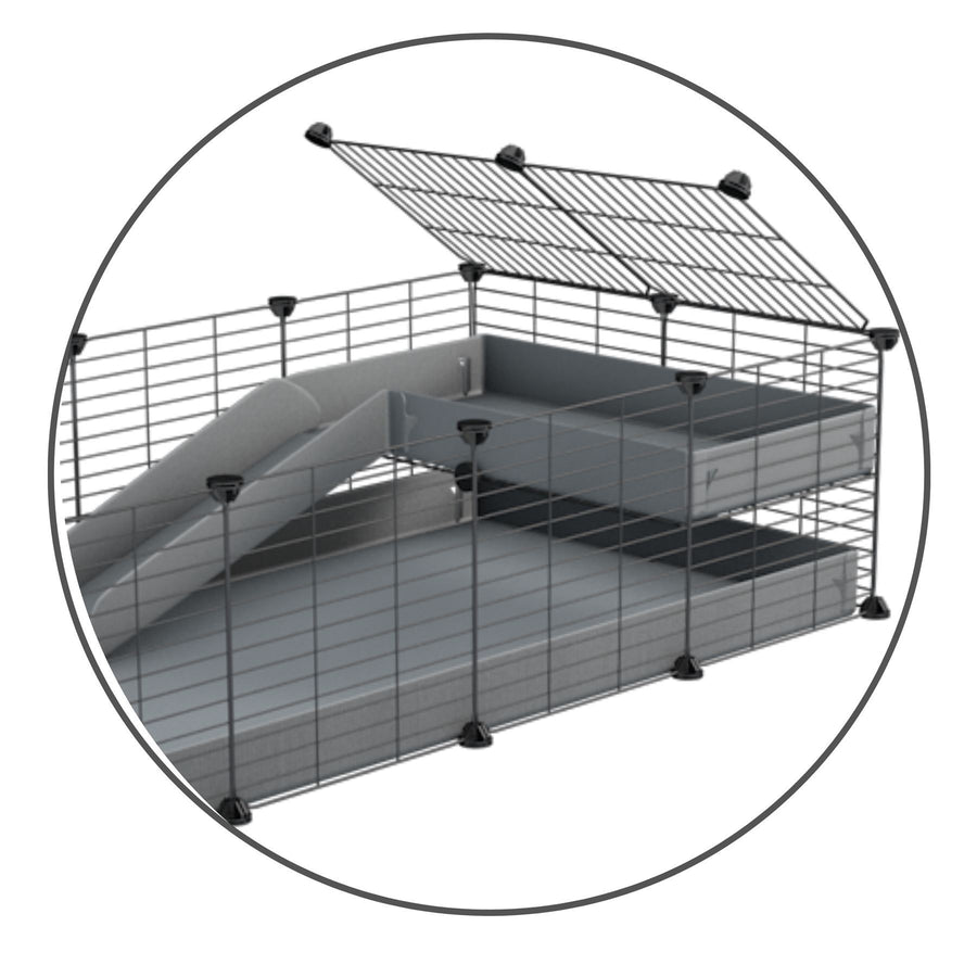 A set containing a grey coroplast ramp and 1x2 loft and baby proof safe C and C grids by kavee uk