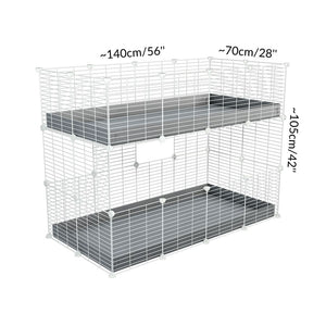 Size of A 4x2 double stacked c and c guinea pig cage with two stories blue coroplast safe size white grids by brand kavee